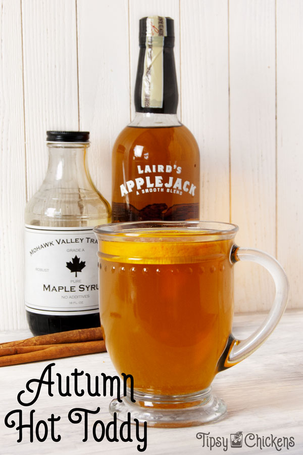 Sit back and sip a hot toddy made with applejack, orange and hot chai sweetened with maple syrup perfect for a cool autumn day