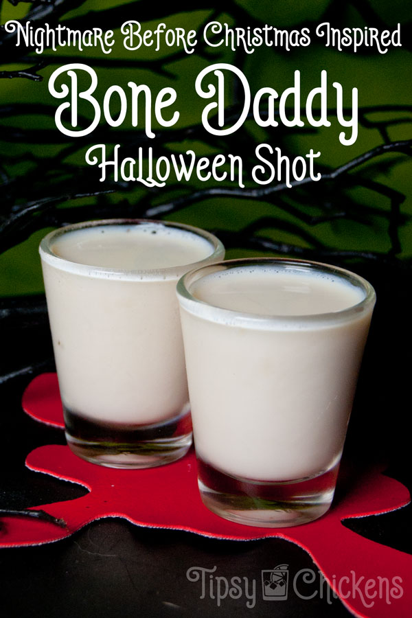 Kick off your Halloween party with a Nightmare Before Christmas Shot! Inspired by Jack Skellington this easy recipe corrupts the sweet flavor of Christmas morning (Rumchata) with Black Rum #Halloweenparty #adultHalloween #Halloweencocktail #halloweenshot #Halloweenrecipe #Nightmarebeforechristmasparty #nightmarebeforechristmas
