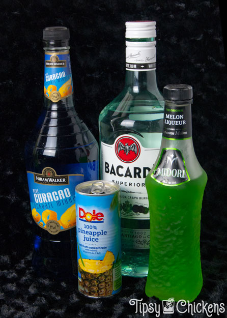 monster smash ingredients, Bacardi rum, pineapple juice Midori and Blue Curacao