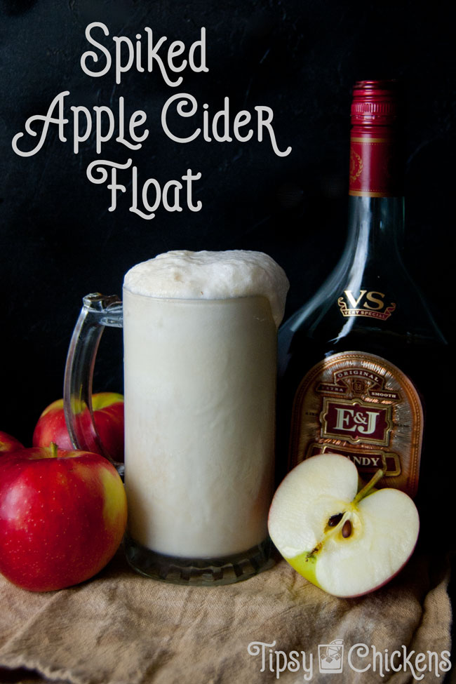 Brandy and ginger beer tone down the sweetness of apple cider and ice cream to bring an adult twist to a childhood favorite filled with autumn flavors #applecider #brandy #fallcocktail #autumncocktail
