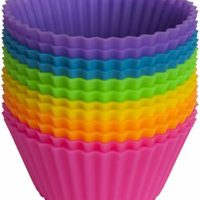 Pantry Elements Silicone Cupcake Liners/Baking Cups - 12 Vibrant Muffin Molds in Storage Jar