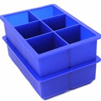 Perfect Kitchen Big Ice Cub Trays - 2 inch Extra Large Silicone Ice Cube Trays - Set of 2, Blue