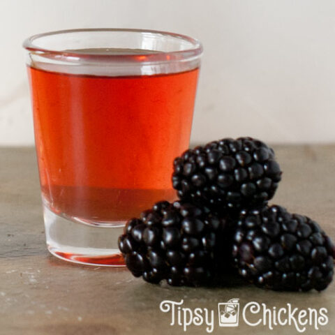 american honey blackberry whiskey in shot glasses with blackberries