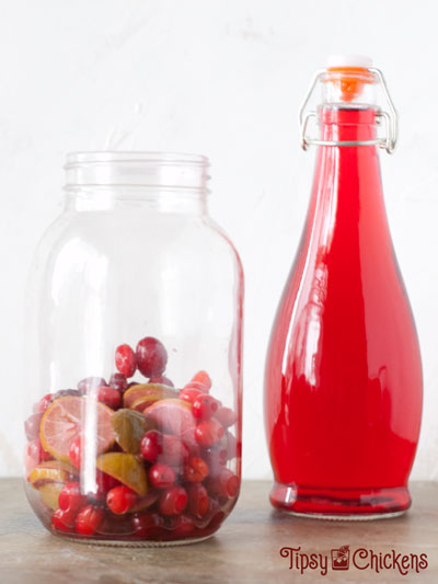 bottle of cranberry and lime infused vodka in a glass bottle with a large mason jar filled with the cranberries and limes used to flavor the vodka