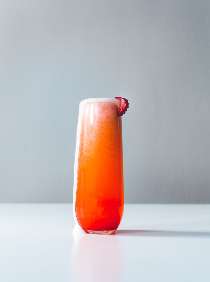 Racy Strawberry French 75 Cocktail