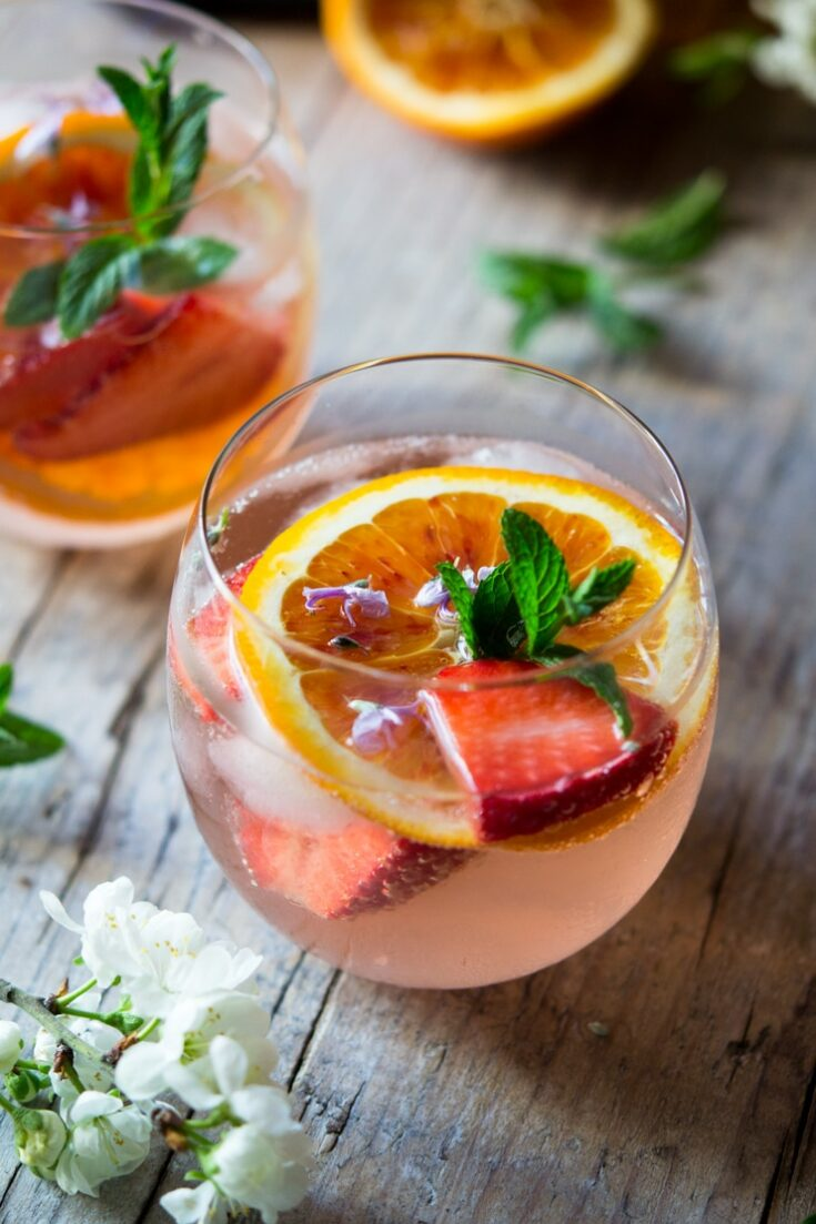 Cointreau Rose Cocktail With Strawberries