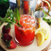Mint Strawberry Whisky Smash Cocktail