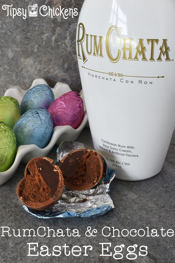 bottle of RumChata, hollow chocolate Easter eggs filled with chocolate RumChata ganache