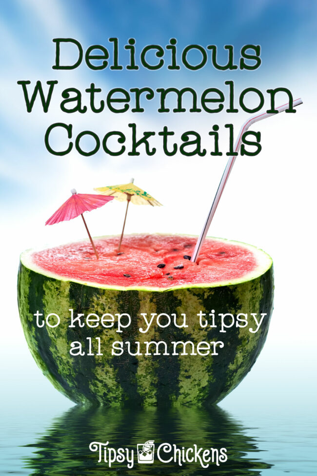 half a awatermelon with a straw and two cocktail umbrellas