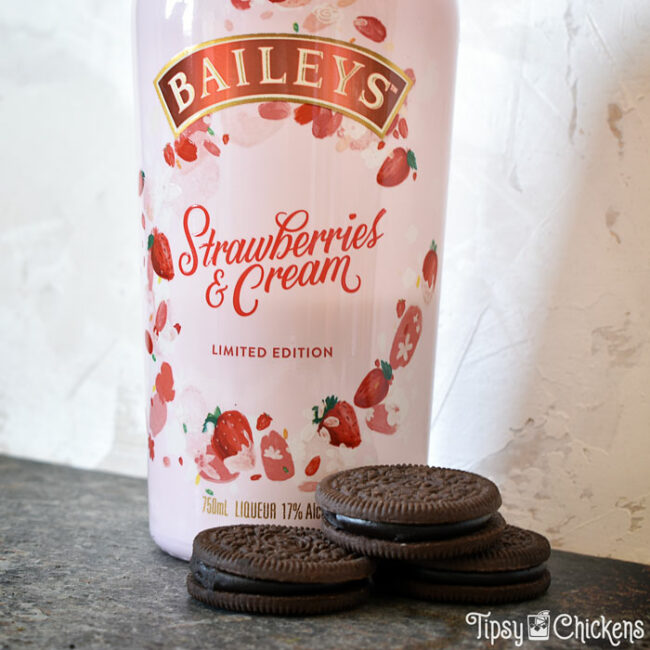 baileys strawberries and cream bottle with dark chocolate oreos